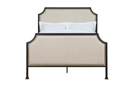 Queen Clipped Corner Metal Framed Upholstered Bed