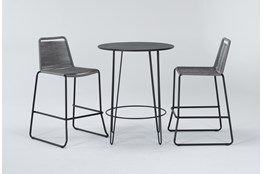 Caspian Outdoor 3 Piece Bar Set With Grey Barstools