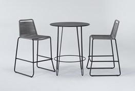 Caspian Outdoor 3 Piece Bar Set With Grey Barstools