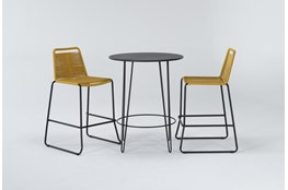 Caspian Outdoor 3 Piece Bar Set With Mustard Barstools