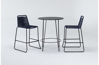 Caspian Outdoor 3 Piece Bar Set With Navy Barstools