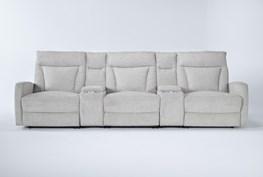 "Halina 5 Piece Home Theater 125"" Power Reclining Sofa With AC Power & Usb"