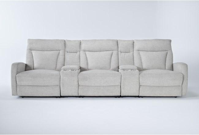 "Halina 5 Piece Home Theater 125"" Power Reclining Sofa With AC Power & Usb - 360"