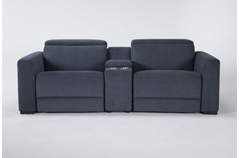 Chanel Denim 3 Piece Power Reclining Console Loveseat With Power Headrest