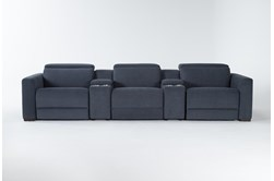 Chanel Denim 5 Piece Home Theater Power Reclining Sofa With Power Headrest