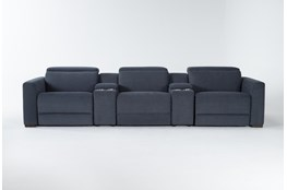 "Chanel Denim 5 Piece Home Theater 135"" Power Reclining Sofa With Power Headrest"