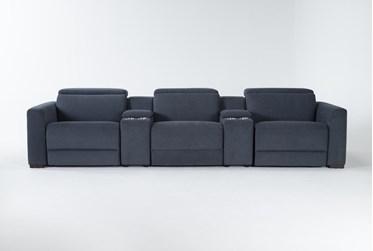 "Chanel Denim 5 Piece Home Theater 135"" Power Reclining Sofa With Power Headrest"