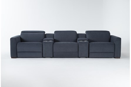 Chanel Denim 5 Piece Home Theater Power Reclining Sofa With Power Headrest - Main