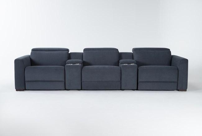 "Chanel Denim 5 Piece Home Theater 135"" Power Reclining Sofa With Power Headrest - 360"