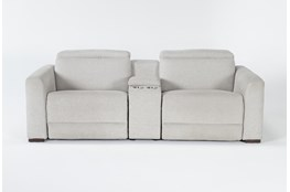 "Chanel Grey 3 Piece 91"" Power Reclining Console Loveseat With Power Headrest"
