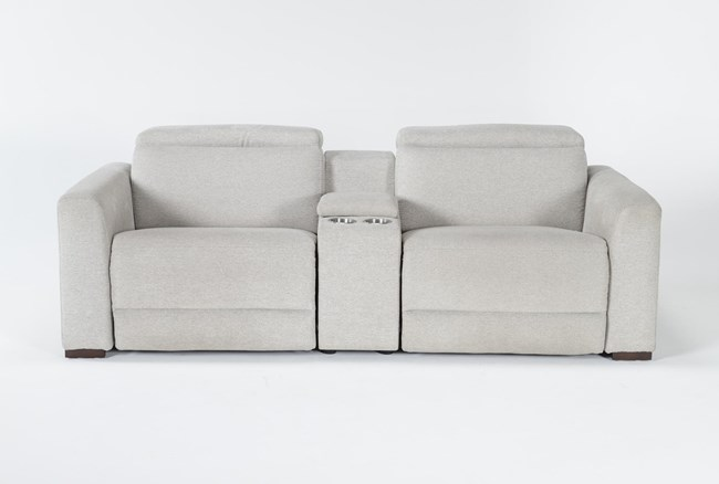 """Chanel Grey 3 Piece 91"""" Power Reclining Console Loveseat With Power Headrest - 360"""