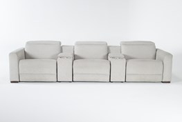 """Chanel Grey 5 Piece Home Theater 135"""" Power Reclining Sofa With Power Headrest"""
