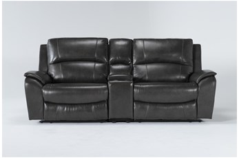 "Travis Dark Grey Leather 3 Piece 97"" Power Reclining Console Loveseat With Power Headrest & Usb"