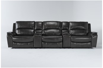 "Travis Dark Grey Leather 5 Piece Home Theater 142"" Power Reclining Sofa With Power Headrest & Usb"