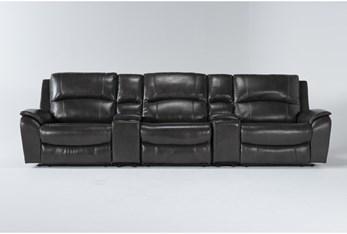 "Travis Dark Grey Leather 5 Piece Home Theater 142"" Power Reclining Sofa With Power Headrest & Usb"