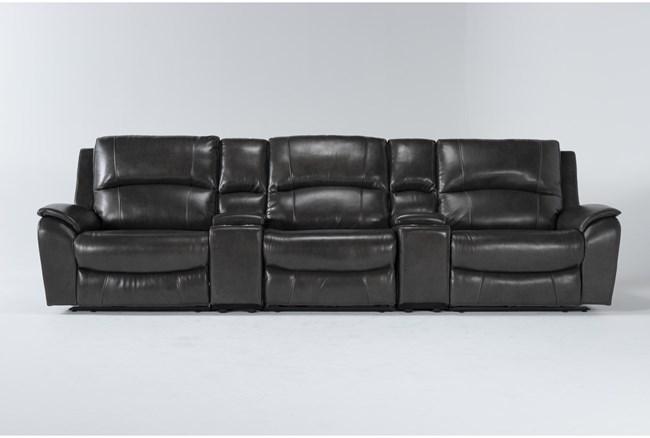"Travis Dark Grey Leather 5 Piece Home Theater 142"" Power Reclining Sofa With Power Headrest & Usb - 360"