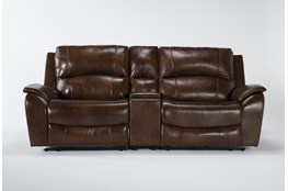 "Travis Cognac Leather 3 Piece 97"" Power Reclining Console Loveseat With Power Headrest & Usb"