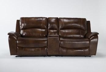 "Travis Cognac Leather 3 Piece 97"" Power Reclining Console Loveseat With Power Headrest & Usb"