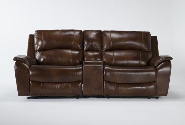 "Travis Cognac Leather 3 Piece 97"" Power Reclining Console Loveseat With Power Headrest & Usb - 360"
