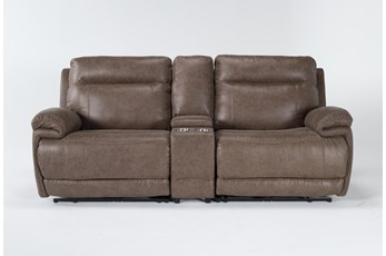 "Wallace Light Brown Zero Gravity 3 Piece 96"" Power Reclining Console Loveseat With Power Headrest"
