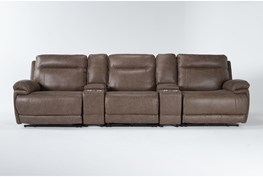 """Wallace Light Brown Zero Gravity 5 Piece Home Theater 141"""" Power Reclining Sofa With Power Headrest"""