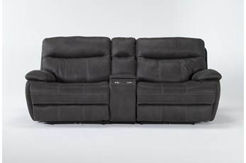 "Denali II Charcoal 3 Piece 98"" Power Reclining Console Loveseat With Power Headrest & Usb"