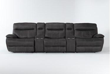 "Denali II Charcoal 5 Piece Home Theater 143"" Power Reclining Sofa With Power Headrest & Usb"