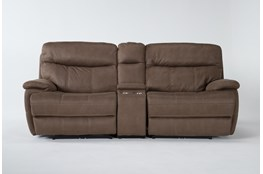 "Denali II Brown 3 Piece 98"" Power Reclining Console Loveseat With Power Headrest & Usb"