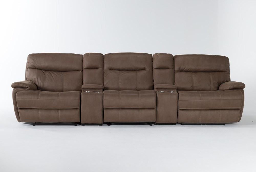 "Denali II Brown 5 Piece Home Theater 143"" Power Reclining Sofa With Power Headrest & Usb"