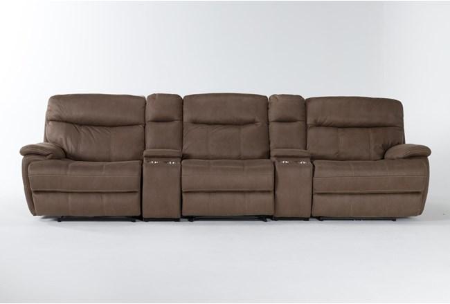 "Denali II Brown 5 Piece Home Theater 143"" Power Reclining Sofa With Power Headrest & Usb - 360"