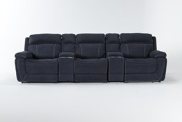 """Levi 5 Piece Home Theater 127"""" Power Reclining Sofa With Power Headrest & Usb"""