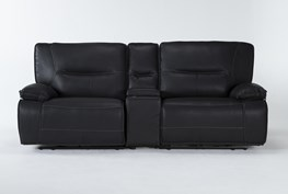"""Marcus Black 3 Piece 95"""" Power Reclining Console Loveseat With Power Headrest & Usb"""