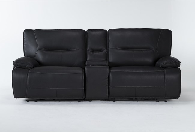 """Marcus Black 3 Piece 95"""" Power Reclining Console Loveseat With Power Headrest & Usb - 360"""