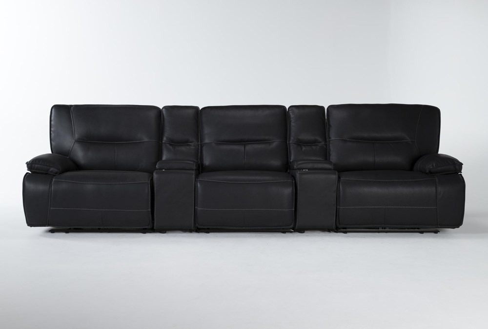 """Marcus Black 5 Piece Home Theater 140"""" Power Reclining Sofa With Power Headrest & Usb"""