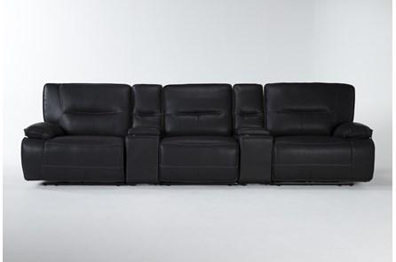 Marcus Black 5 Piece Home Theater Power Reclining Sofa With Power Headrest & Usb - Main