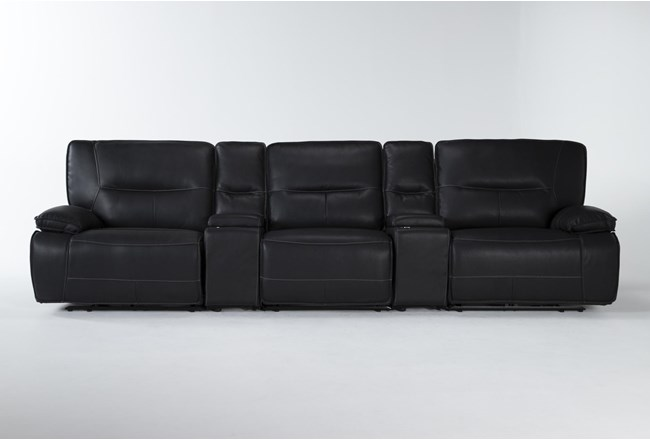 """Marcus Black 5 Piece Home Theater 140"""" Power Reclining Sofa With Power Headrest & Usb - 360"""
