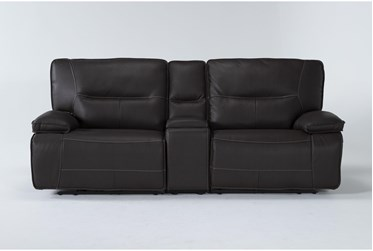"""Marcus Chocolate 3 Piece 95"""" Power Reclining Console Loveseat With Power Headrest & Usb"""