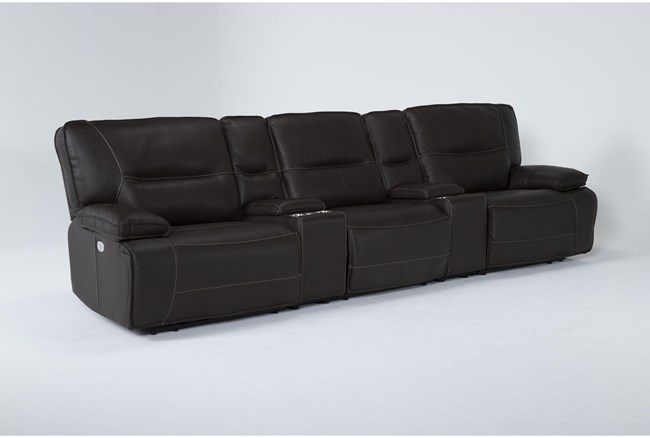 """Marcus Chocolate 5 Piece Home Theater 108"""" Power Reclining Sofa With Power Headrest & Usb - 360"""