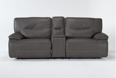 """Marcus Grey 3 Piece 95"""" Power Reclining Console Loveseat With Power Headrest & Usb"""