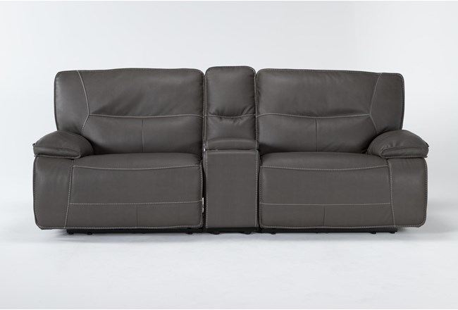 """Marcus Grey 3 Piece 95"""" Power Reclining Console Loveseat With Power Headrest & Usb - 360"""