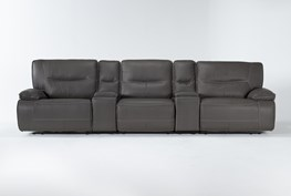"""Marcus Grey 5 Piece Home Theater 140"""" Power Reclining Sofa With Power Headrest & Usb"""