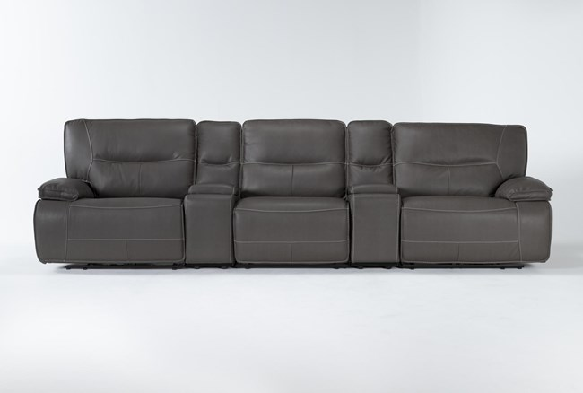 """Marcus Grey 5 Piece Home Theater 140"""" Power Reclining Sofa With Power Headrest & Usb - 360"""