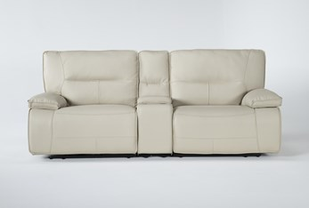 """Marcus Oyster 3 Piece 95"""" Power Reclining Console Loveseat With Power Headrest & Usb"""