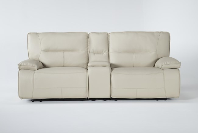 """Marcus Oyster 3 Piece 95"""" Power Reclining Console Loveseat With Power Headrest & Usb - 360"""