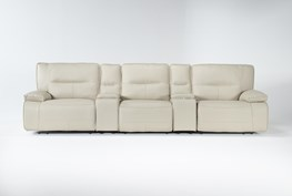 """Marcus Oyster 5 Piece Home Theater 140"""" Power Reclining Sofa With Power Headrest & Usb"""