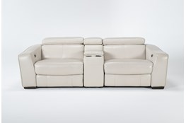 "Kristen Silver Grey Leather 3 Piece 93"" Power Reclining Console Loveseat With Usb"