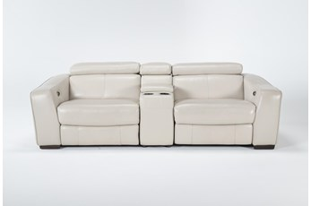 """Kristen Silver Grey Leather 3 Piece 93"""" Power Reclining Console Loveseat With Usb"""