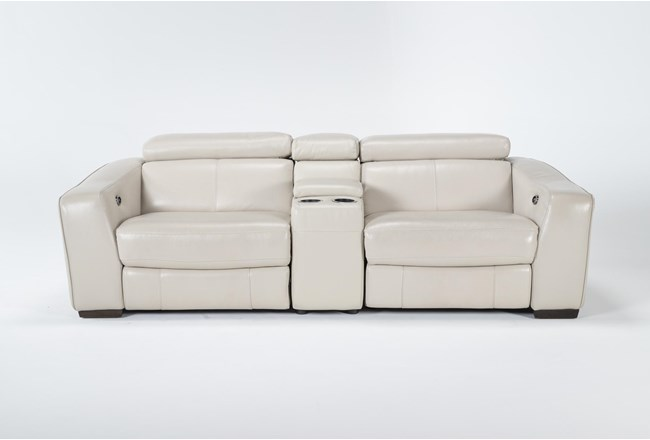 """Kristen Silver Grey Leather 3 Piece 93"""" Power Reclining Console Loveseat With Usb - 360"""