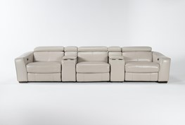 """Kristen Silver Grey Leather 5 Piece Home Theater 136"""" Power Reclining Sofa With Usb"""