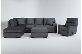 Romy Graphite 2 Piece Sectional With Left Arm Facing Chaise, Ottoman & Rocker Recliner